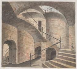 The inside of the opium godown at Patna, showing a staircase rising on increasingly high arches